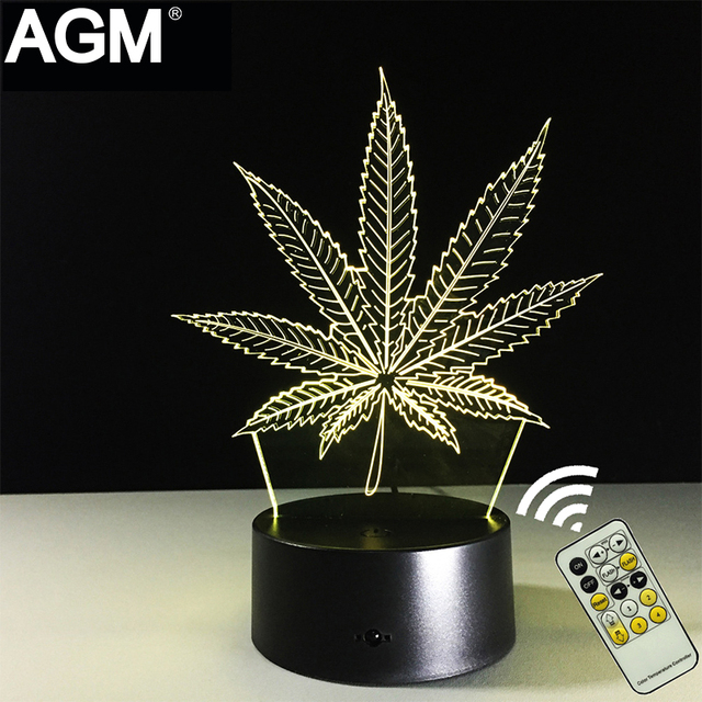 Creative Maple Leaf 3D Touch Table lamp 7 Color Changing RGB Lamp Visual 3D Light USB 3D LED Night Lights For Kids Gifts