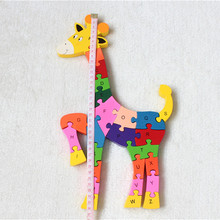 2pcs/lot English letters, sika deer, jigsaw wooden blocks toys for emotion manual and color