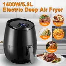 1400W 5.2L Oil Free Air Fryer Kesehatan Fryer Cooker Pintar Sentuh LCD Airfryer Pizza Multi Fungsi Smart Fryer untuk bahasa Perancis Kentang Goreng(China)