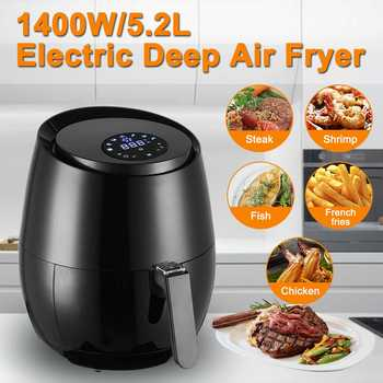 1400W 5.2L Oil free Air Fryer Health Fryer Cooker Smart Touch LCD Airfryer Pizza Multi function Smart Fryer for French fries