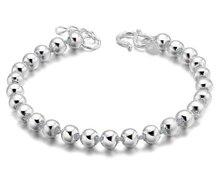 Alta qualidade prata cor lucky round contas de oração pulseiras & pulseiras para homens e mulheres moda jóias S B10