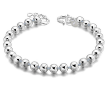 Yüksek kalite gümüş renk şanslı yuvarlak tespihler bilezik ve bilezikler erkekler ve kadınlar için moda takı S B10