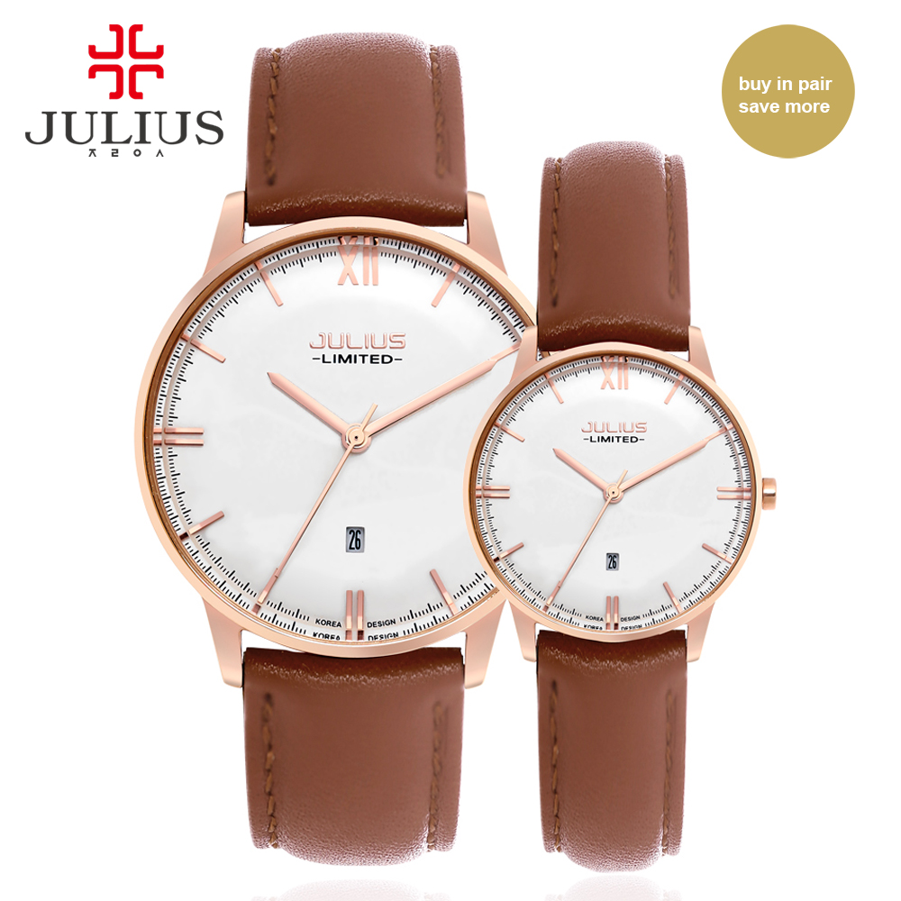 Julius Japan Quartz Movt Weddings Watches For Couple Stainless Steel Case Genuine Leather Strap Waterproof Lover's Watch JA-030