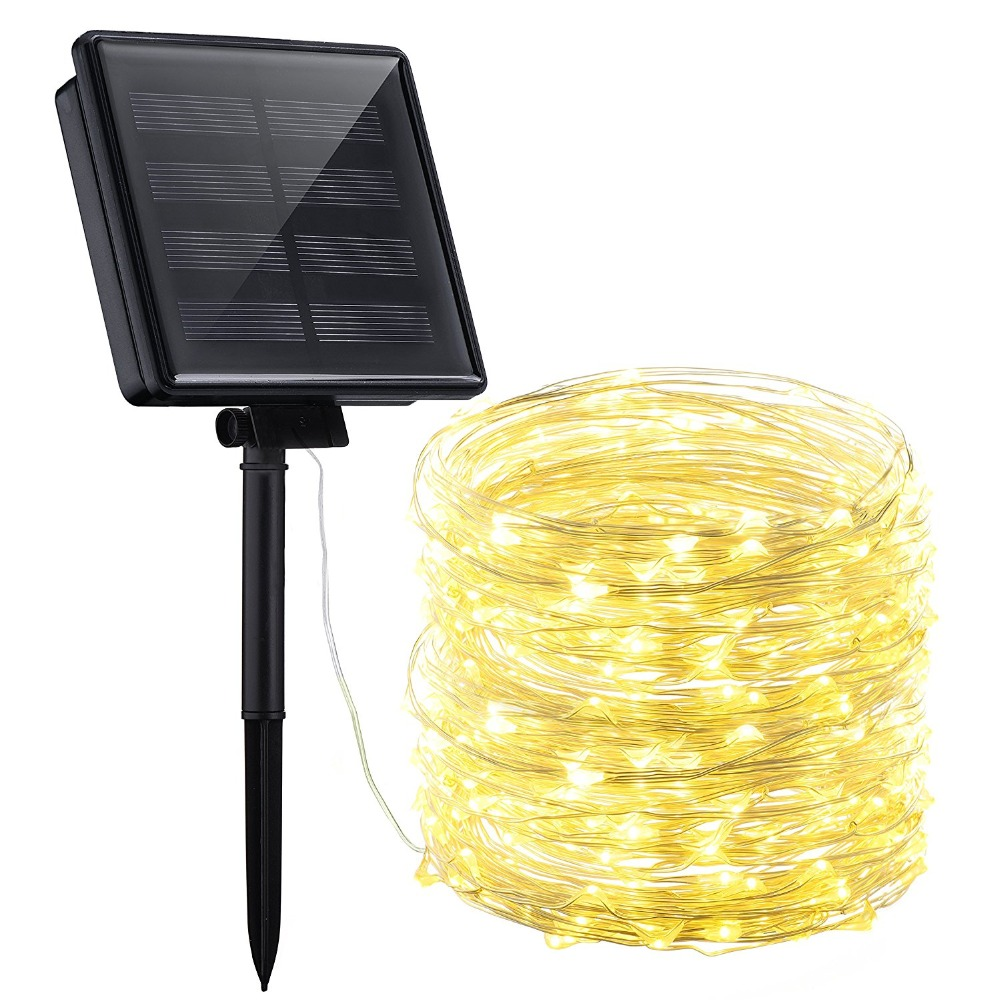 String Light Solar Christmas Light Waterproof 5M 10M 20M Sliver Wire Lamp For Outdoor Garden Fairy Decoration Party Lights