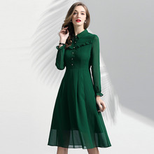 Women Chiffon Dress Elegant 2019 Spring New Fashion Solid Color Turn Down Collar Long Sleeved Ruffles Slim A-Line Green Dress women shirt dress 100% cotton spring summer 2019 new fashion stripes turn down collar long sleeved slim waist split casual dress