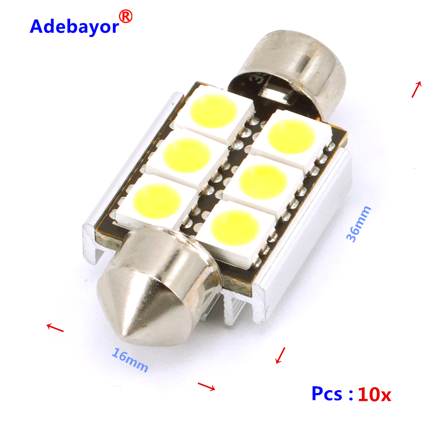 10 X Canbus Foutloos Warm Wit 36mm 6 Smd 5050 Led Lamp Light Circuit Board121012smd China 1x44mm Rigid Loop Haak 1210 12 3528 Dome Festoen Interieur Lampen Auto Licence Dak Licht Witusd 168 Piece