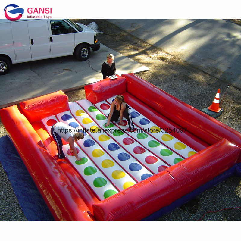 Colorful fitness body inflatable twister mat, inflatable twister game for body exercise