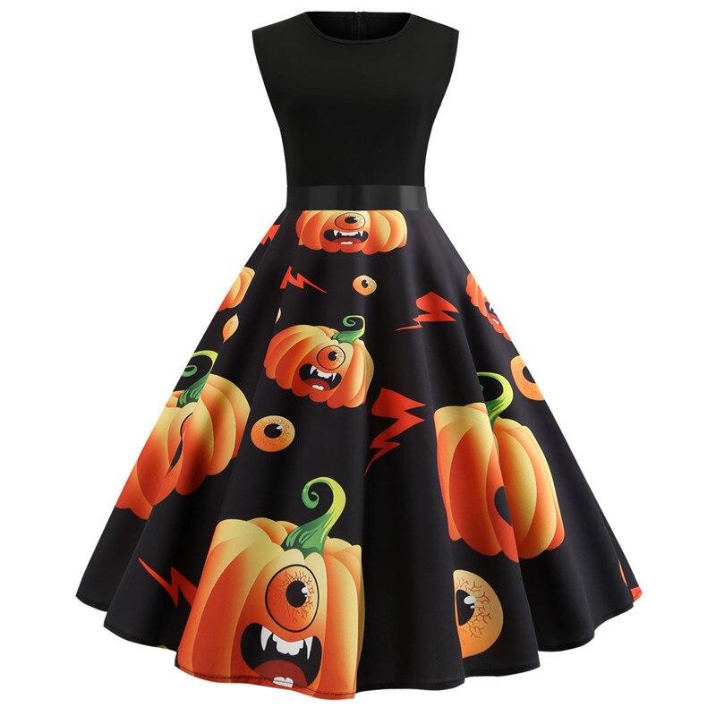 robe halloween femme pumpkin dress women sleeveless party. Black Bedroom Furniture Sets. Home Design Ideas