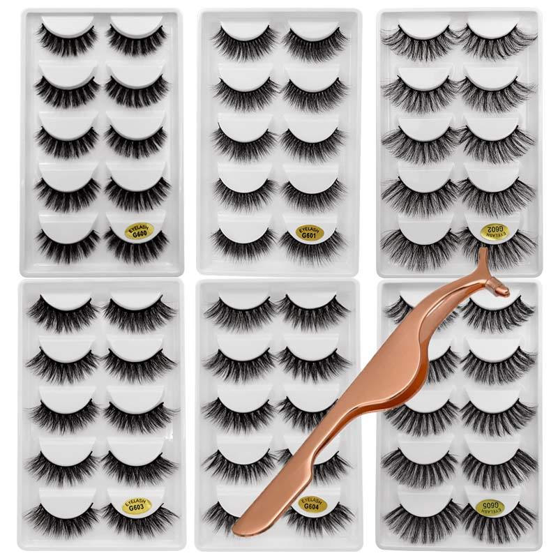 838aa33660f 30pairs/lot natrual 3d mink eyelashes fake lashes 3d mink lashes bulk  fluffy false lashes kit 6 boxes lashes with makeup twzeers