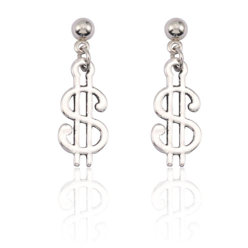 Fashion US Dollar Coins Stud Earrings Simple Silver Metal