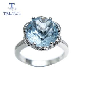 Image 2 - TBJ, רומנטי טבעת עם טבעי שמיים כחול טופז טופז כדורגל לחתוך חן טבעת 925 כסף בסדר תכשיטי עבור בנות כמו מתנה