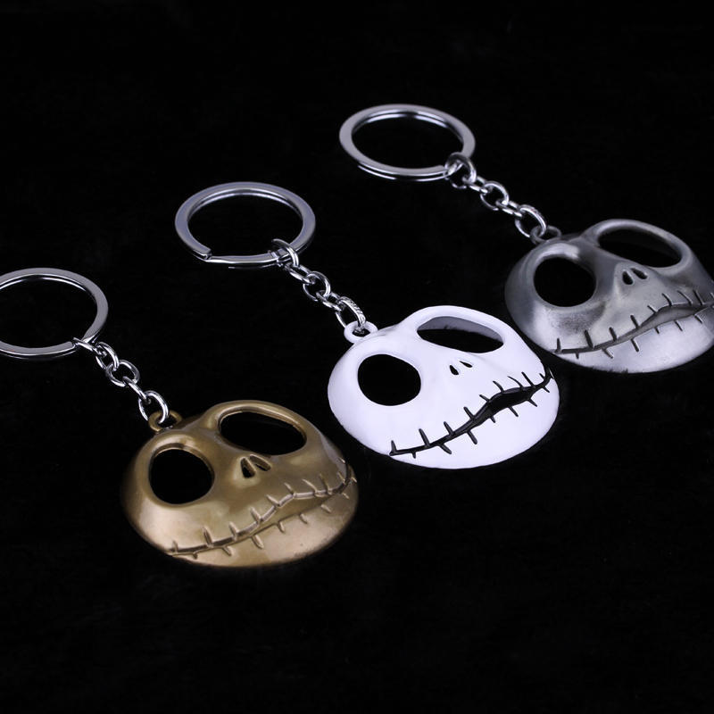 dongsheng Hip Hop Keyrings Pumpkin King Santa Jack Skull Head Skellington Keychain The Nightmare Before Christmas Key Chain-50 new animation tim burton the nightmare before christmas jack skellington bobble head cute 11cm action figure href