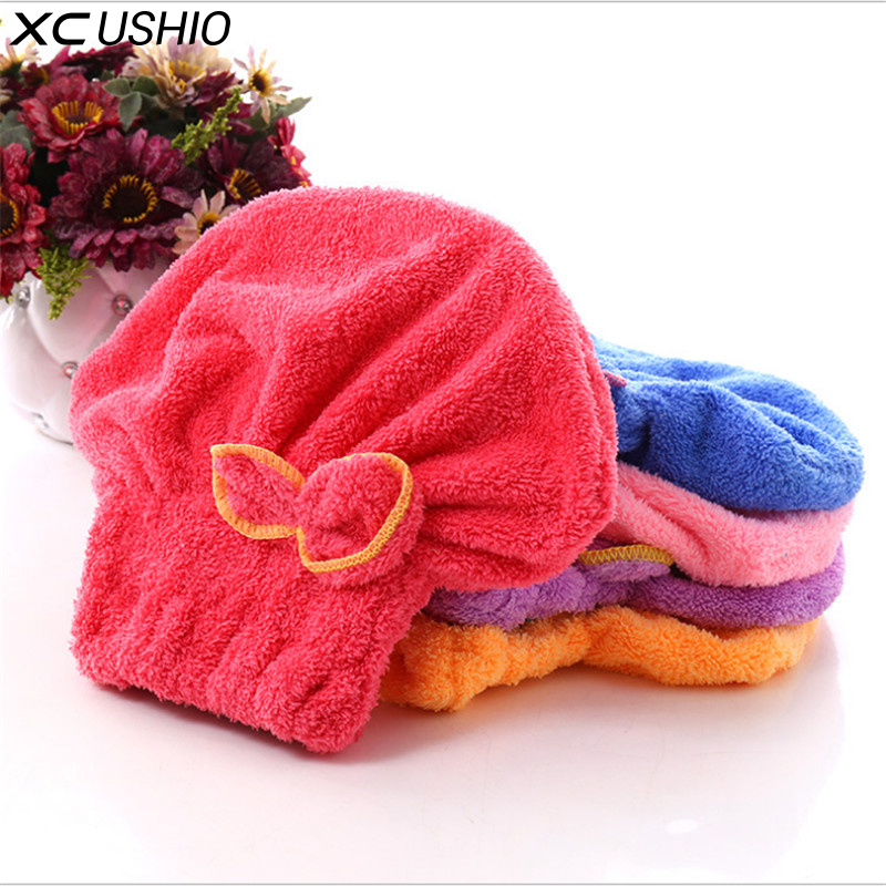 XC USHIO 1 Piece Womens Girls Lady's Magic Quick Dry Bath Hair Drying Towel Head Wrap Hat Makeup Cosmetics Cap Bathing Tool