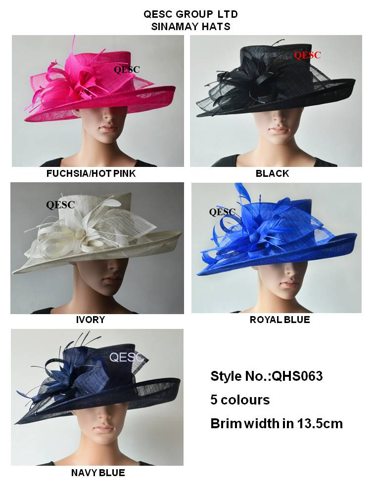 Wide brim Sinamay Hats Fascinators Church hats for races wedding kentucky derby 4 colors ivory royal