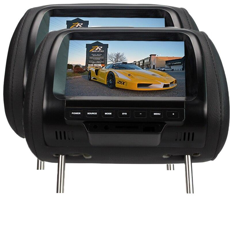 2 pcs Ventes Directes D'usine 7 pouce Voiture Appui-Tête Moniteur 800 * RGB * 480 Auto Monitor Support 2 Vidéo entrées AV Fonction SH7038