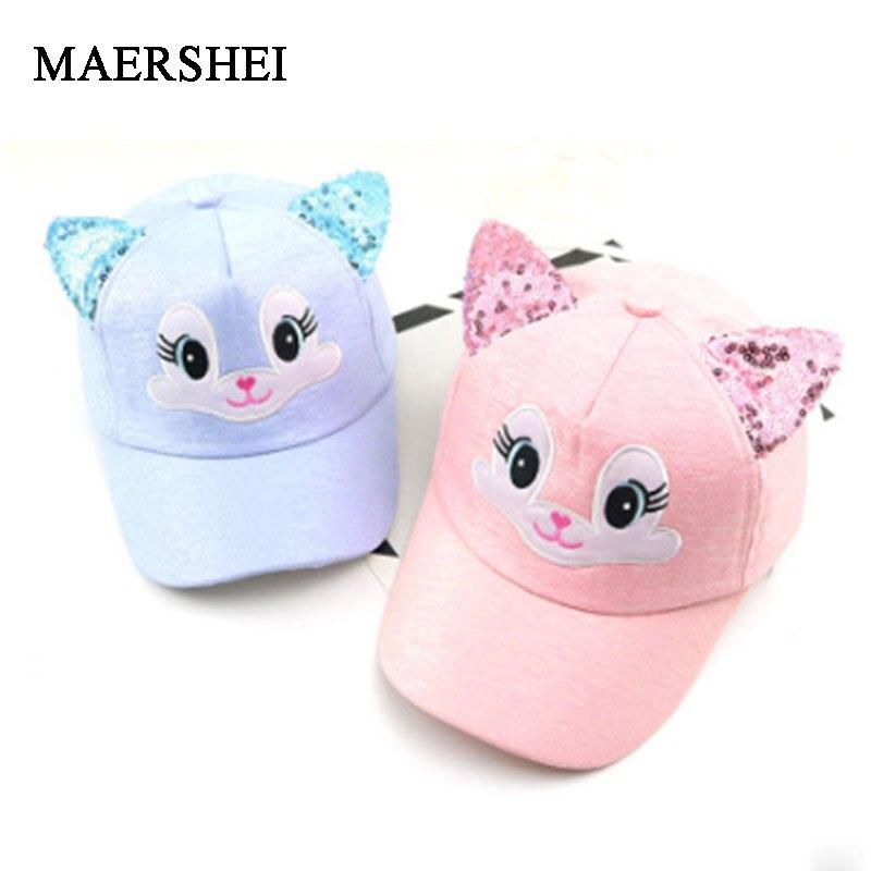 MAERSHEI Children  Baseball Cap Girls Snapback Hip Hop Caps Cat Ear Kids Sun Hat  Spring Summer