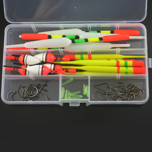 15PCS 3 size Vertical Fishing Float Buoys Bobber Fishing Tackle buoyage with Free Tackle Box + 30pcs Hooks Combo