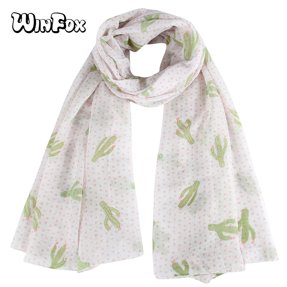 Winfox New Fashion Pink Tropical Floral Cactus Print Beach   Scarfs   Long   Wrap   Shawl Pashmina For Ladies Womens Girls