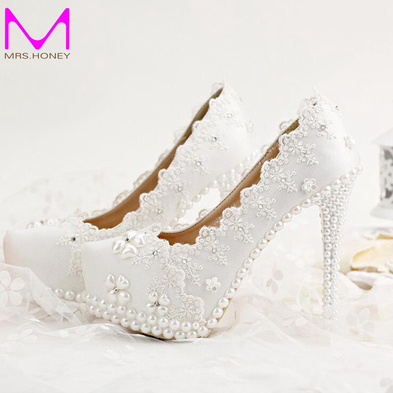 ФОТО 2016 Korean Rhinestones Bridal Shoes White Lace Wedding Shoes Spring Lady High Heels Beautiful Bridesmaid Shoes Party Prom Pumps