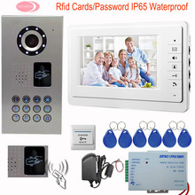 SUNFLOWERVDP Home Phone Intercoms Residential Security Rfid Cards Video Intercom System 7inch Monitor IP65 Waterproof CCD Camera