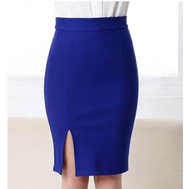 a455866e33488 De las mujeres de la moda Oficina lápiz falda otoño elegante abertura  frontal Midi faldas de