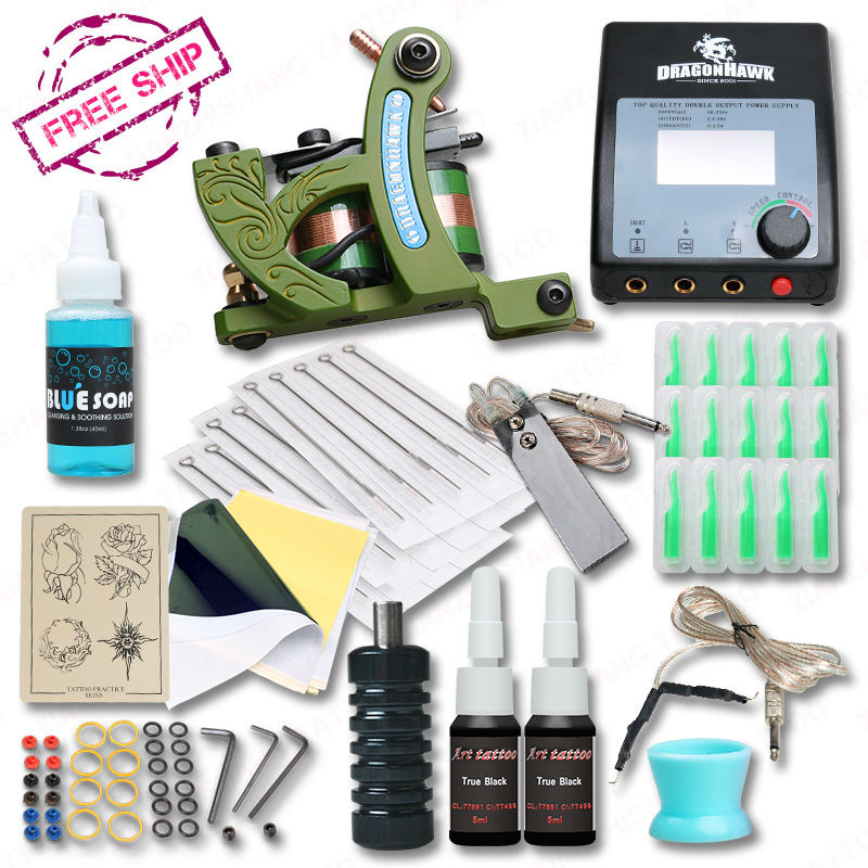 Professional Complete Tattoo Kit With Shading Tattoo Machine Set Grips Power Inks Supplies гуннар ppk onyx matte silver anti излучения линзы кадр янтарные синие очки