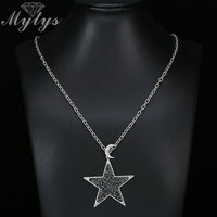 Mytys Brand Crystal Series Pendant Necklaces For Women High Level Sweater Chain Luxury Designer Sparkling Black