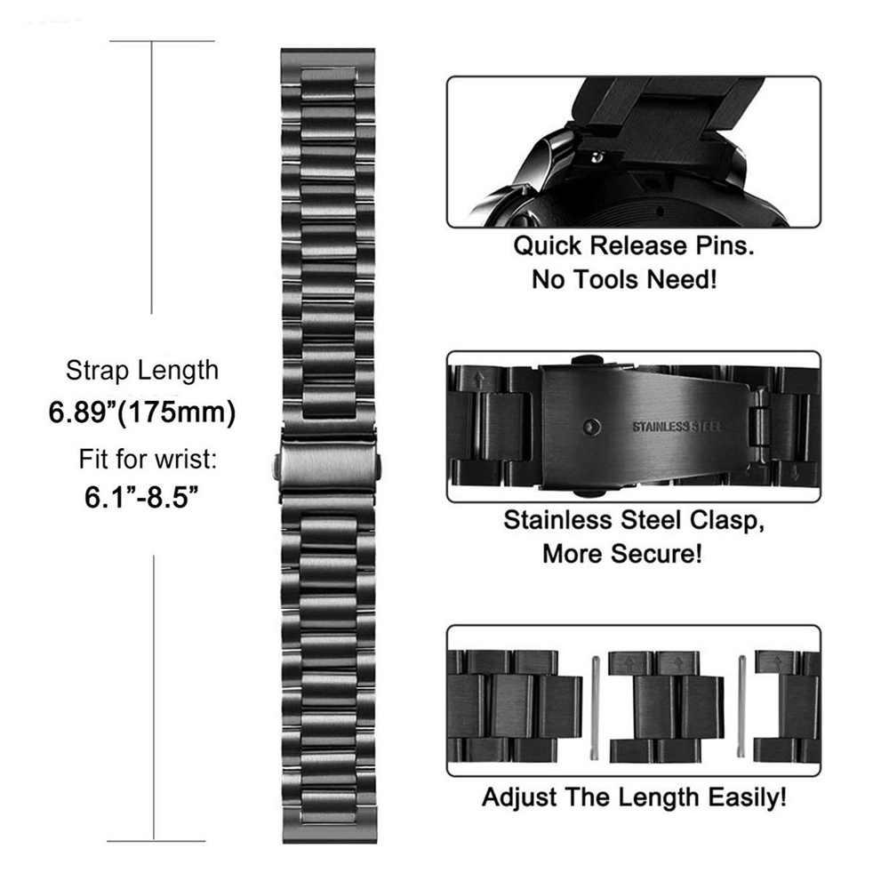 הילוך S3 שעון להקות נירוסטה רצועת לסמסונג גלקסי שעון 42MM 46mm הילוך S3 הילוך S2 קלאסי שחרור מהיר מתכת להקות