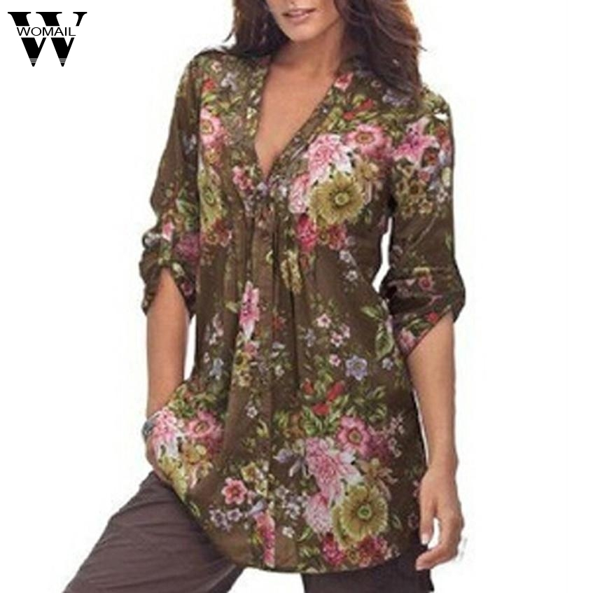 2017 Tops Shirt Women Vintage Floral Print V-neck Tunic Tops Women's Fashion Plus Size Tops Shirt Aug10 1