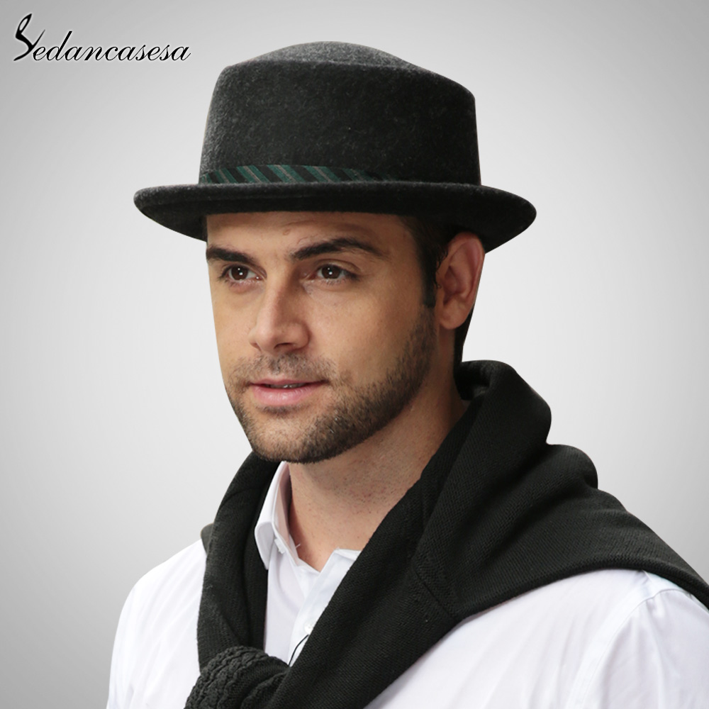 e981998b803 Sedancasesa New Male Fedora Hat Classic Style For Formal Church Hat With  Australian Wool felt Hats for Men FM023017-in Fedoras from Apparel  Accessories on ...