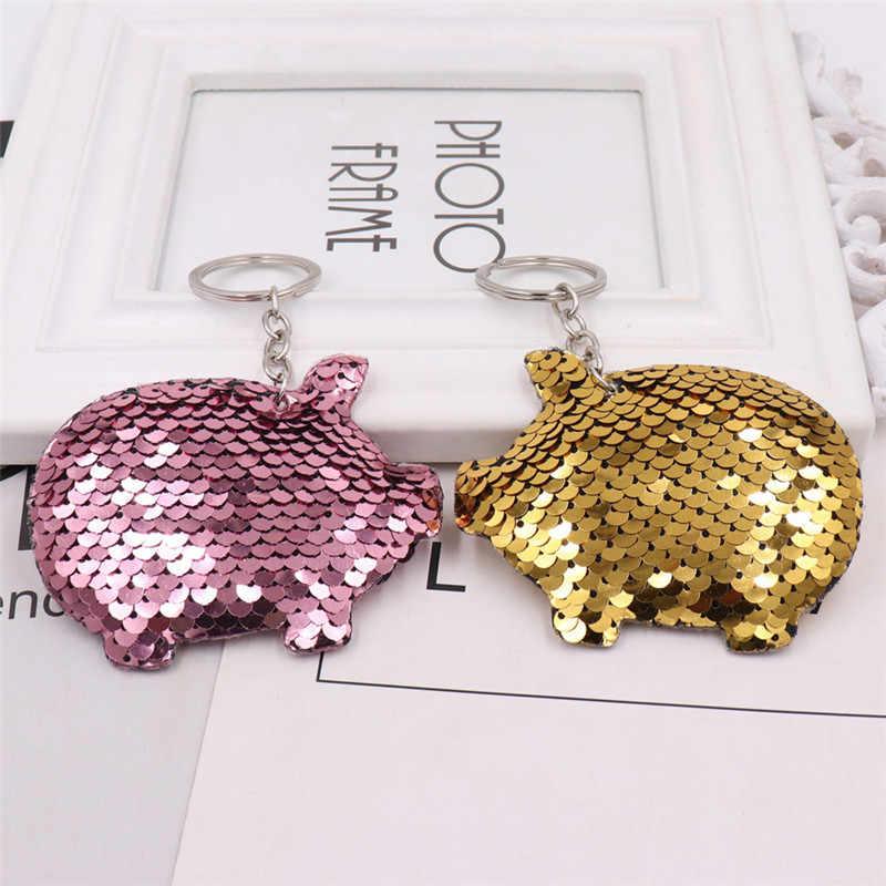 Sitaicery bonito chaveiro porco chaveiro glitter pompom lantejoulas chaveiro presentes para as mulheres llaveros mujer acessórios do carro bolsa trinket