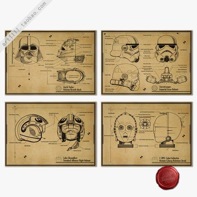 Старинные плакат звездные войны плакат ретро-ностальгии крафт 42 x 30 см бумаги украшения плакат C-3PO vocaloid-лука дыхательную маску