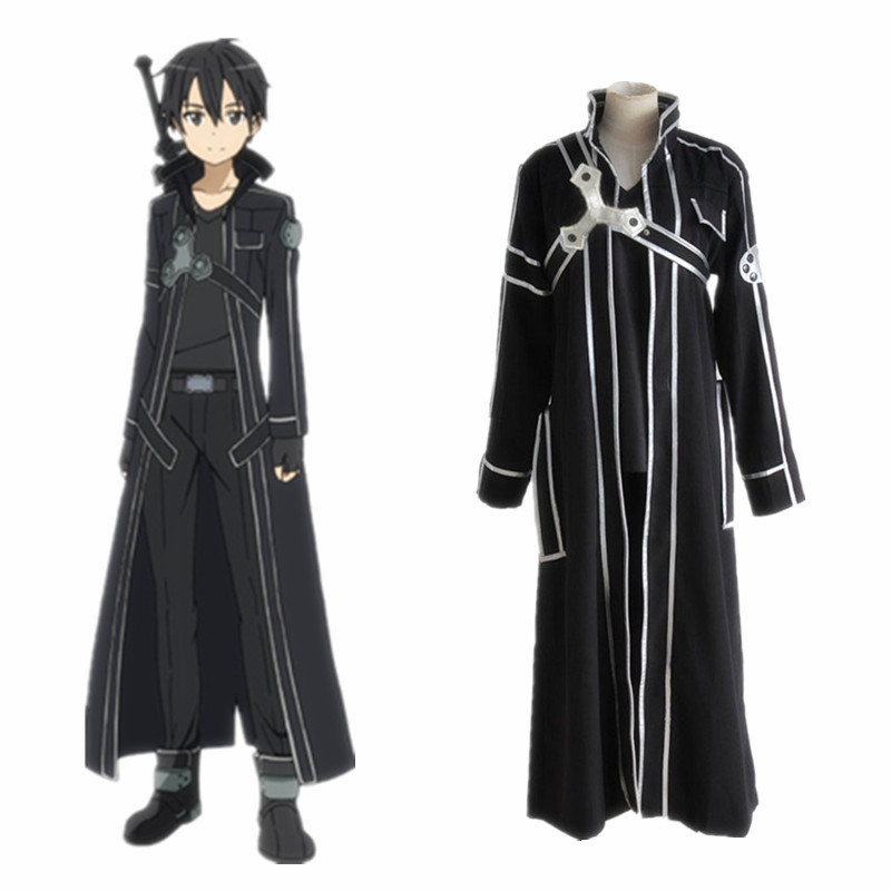 Sword Art Online SAO Kirito Kirigaya Kazuto Full Set Uniform Cosplay Costumes ( Cloak + Belt + Shoulder straps + T-shirt+ Pants)