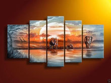 Hand painted Blue lake forest elephants landscape Oil Painting canvasNo frame )