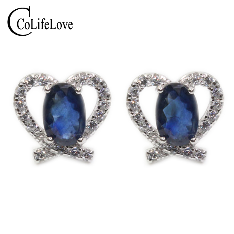 2017 new fashion sapphire earrings 100 natural dark blue stud earring for woman 925 solid sterling