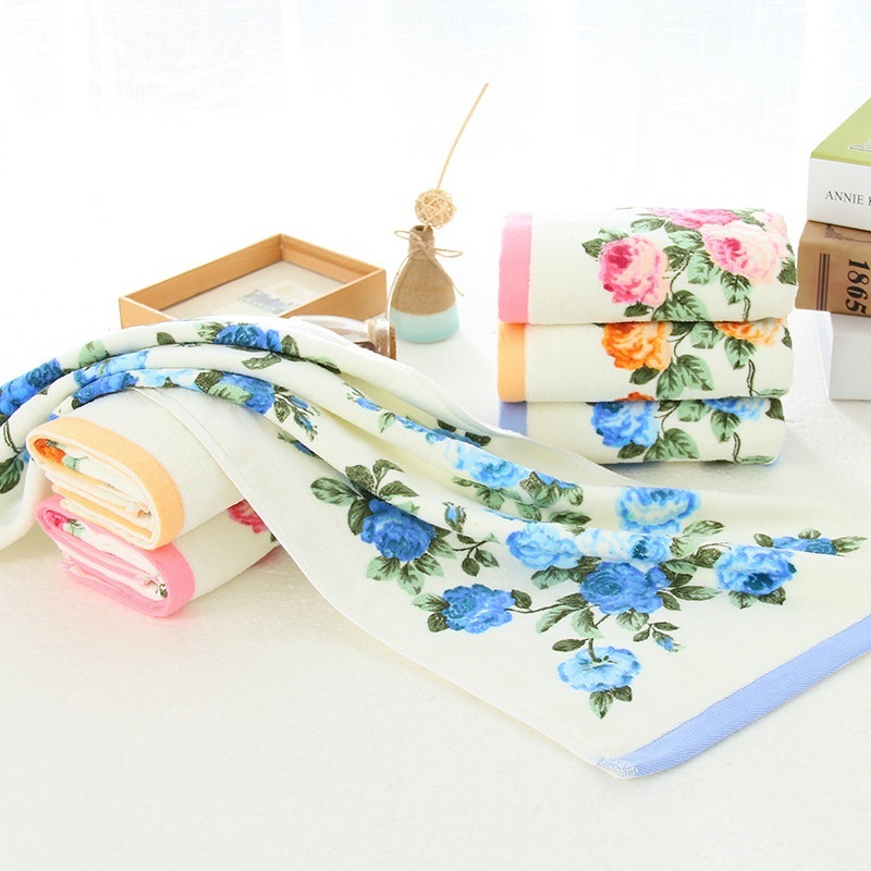 new fashion Women girls 34*74cm Soft Pink Blue Cotton Flower Face Towel Floral hand Terry Towels Peony Washcloth Camping 1pc pink floral towels