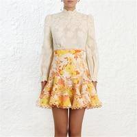 2019 Spring Zim Runway Designer 2 Piece Set Womens Long Sleeve Embroidery Top Blouse + Floral Print Boho Mini Skirt