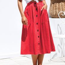 Yfashion Women Vintage Mid-Calf Length Single Breasted Pockets Skirt Casual Loose Beach Skirt