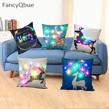 45*45cm Luminous LED Light  Cushion Cover Flax Throw Pillows Cover For Sofa Home Christmas Decoration Battery Not Included