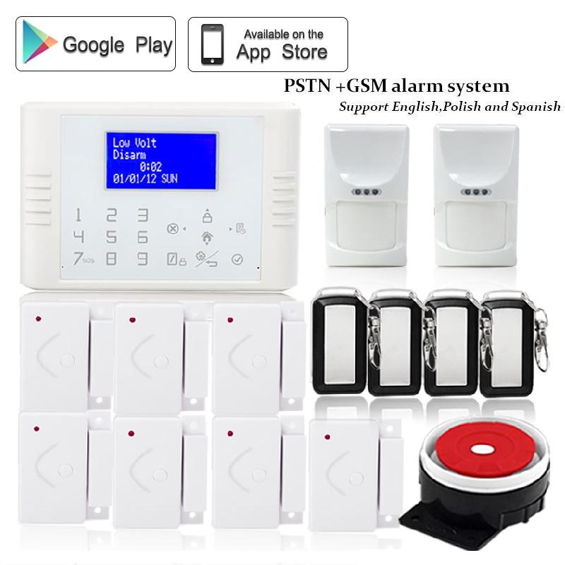купить 433mhz Wireless quad band telephone pstn gsm sms alarm system home security IOS Android App remote control heat+smoke detector недорого