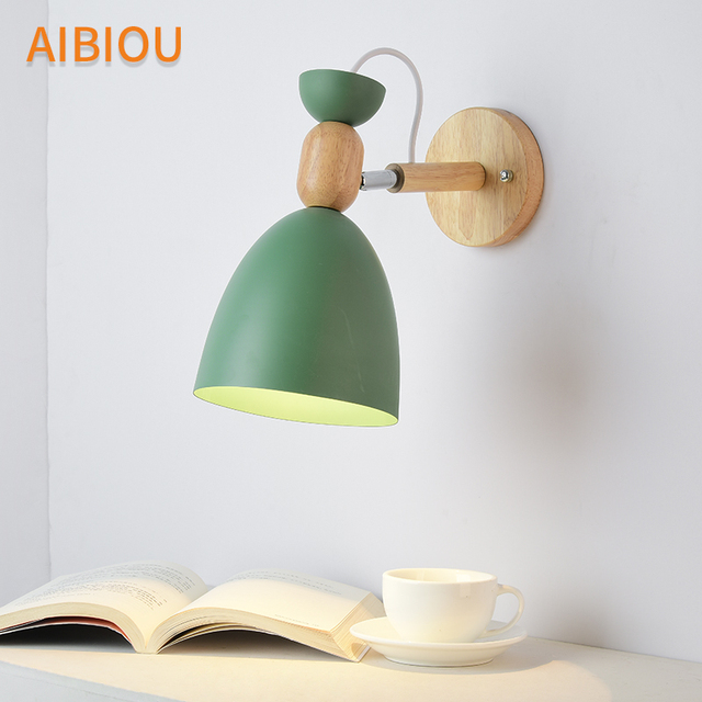 AIBIOU Nordic LED Wall Lights Green Wall Sconce For Foyer E27 Wood Wall Lamp with White Lampshade Gray Matel Reading Light