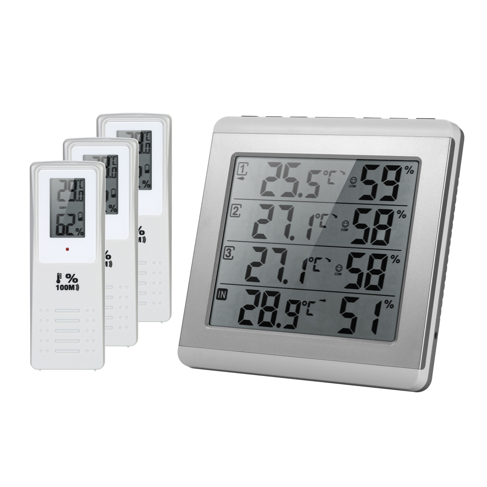 LCD Digital Wireless Indoor weather station Four channel Thermometer Hygrometer Humidity Meter with 3 Outdoor Transmitter