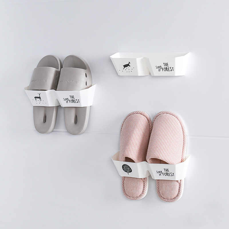 2019 1PC New Convenient Shoes Elk Storage Shoes Rack 3D Wall-mounted Adhesive Shoes Rack Wall Hanging Shoes Organizer Hanger