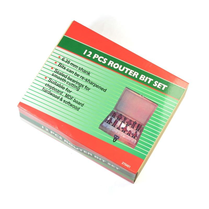 1/4 6.35mm Wood Router Bits Set Engraving Machine Milling Cutter Wood Cutter Woodworking Router Bits 12PCS