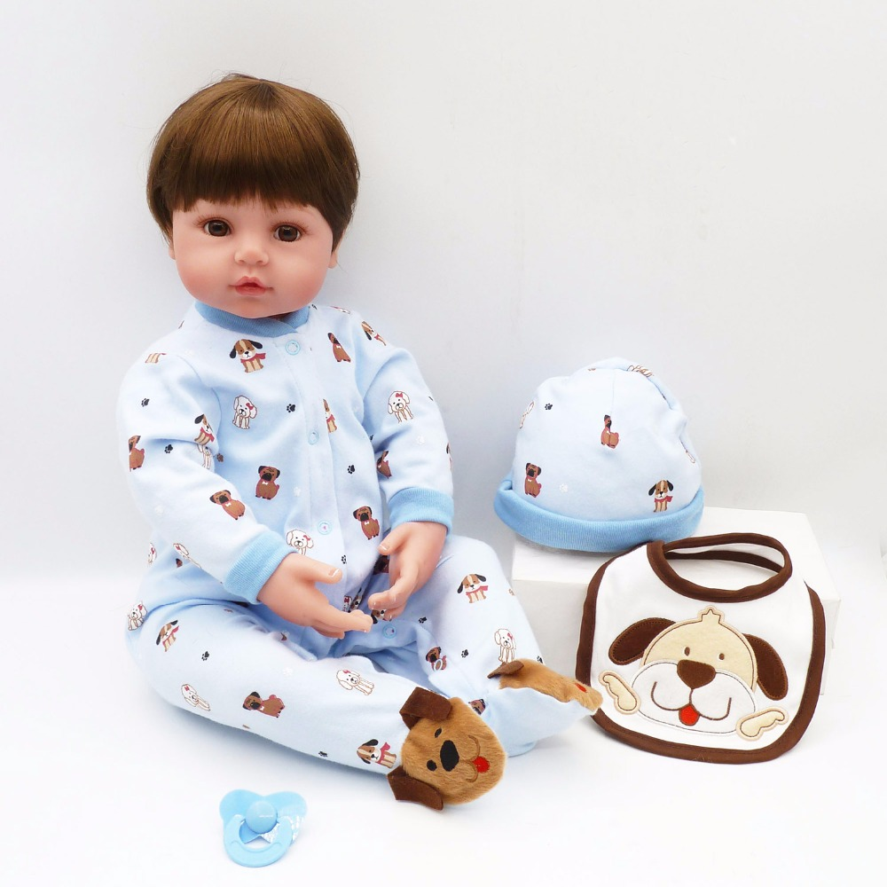 Pursue 24/60 cm Cute Dog Pattern Bebe Reborn Boy Toddler Baby Doll Toys for Children Boy Girl Education Play Fun Doll Toys Gift super cute plush toy dog doll as a christmas gift for children s home decoration 20