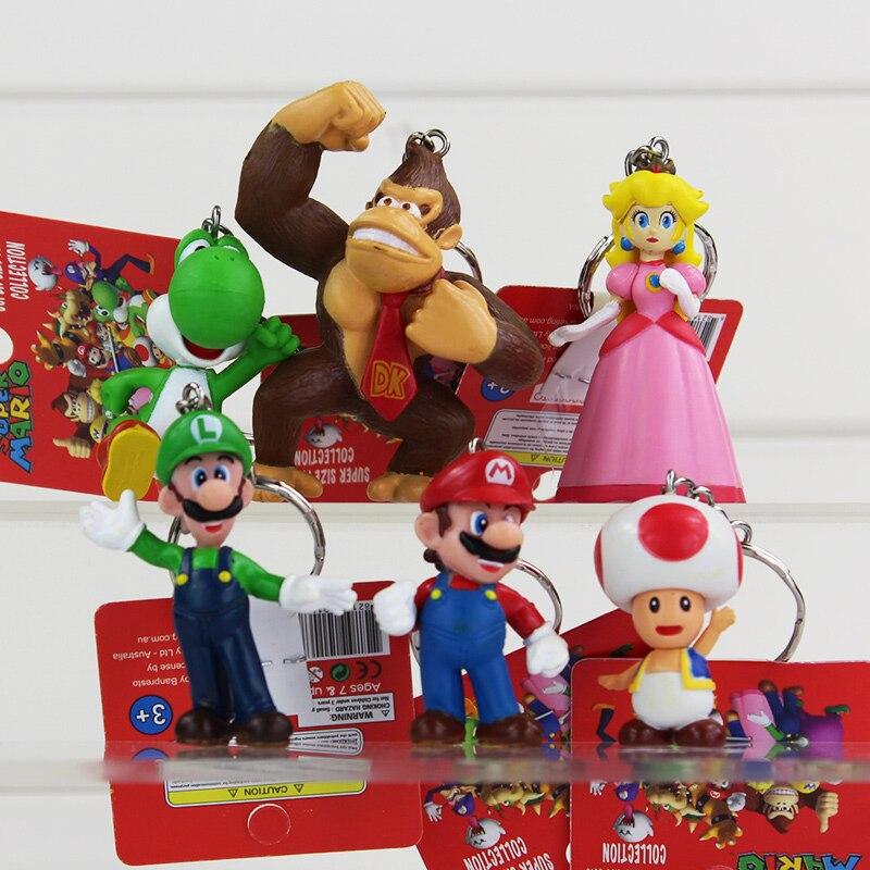 6Pcs/set Super Mario Bros Keychains Mario Luigi Yoshi Toad Princess Peach Keychain Figure Toys Retail 3~7cm