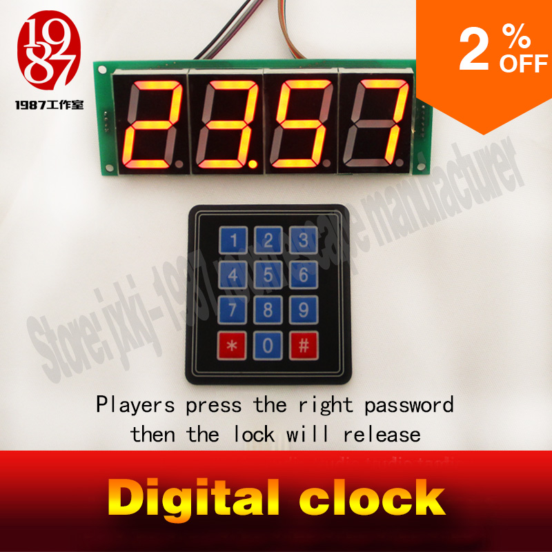 цена Room escape adventurer prop time prop digital clock find password puzzle via clock enter real time to unlock mesterious prop онлайн в 2017 году