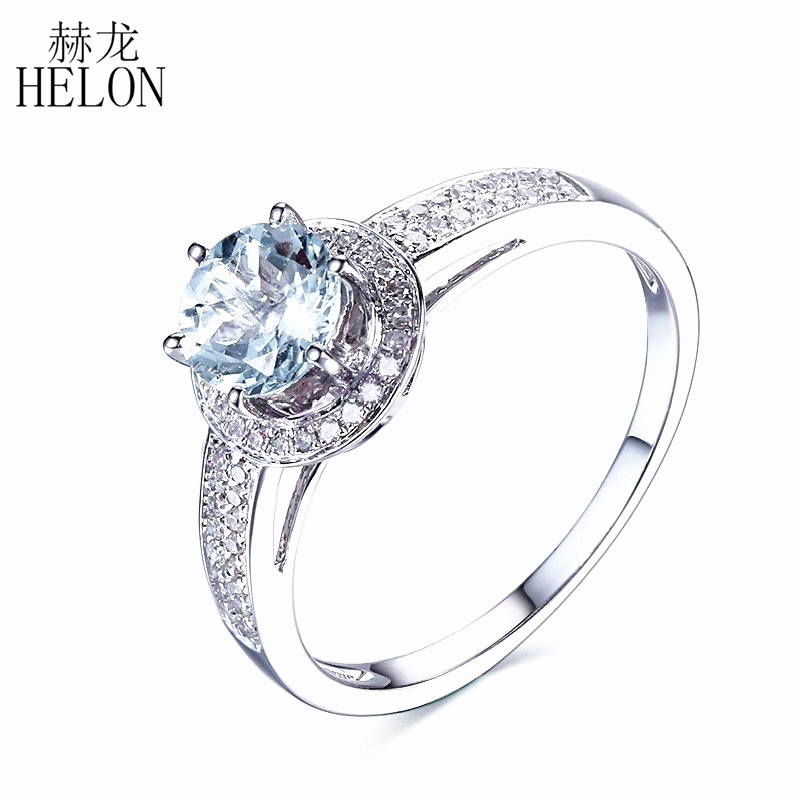 HELON 925 Sterling Silver 6mm Round Cut Genuine Aquamarine Pave Natural Diamonds Engagement Wedding Halo Fine Jewelry Ring