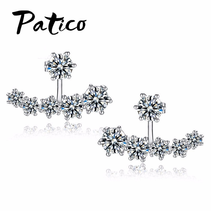 Patico new fashion 925 sterling silver shiny cubic zirconia kristal beads neckband stud earrings wanita pernikahan brinco