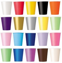 Plain Solid Colours plat Birthday Party Tableware Catering-20 Paper CUPS (9oz)